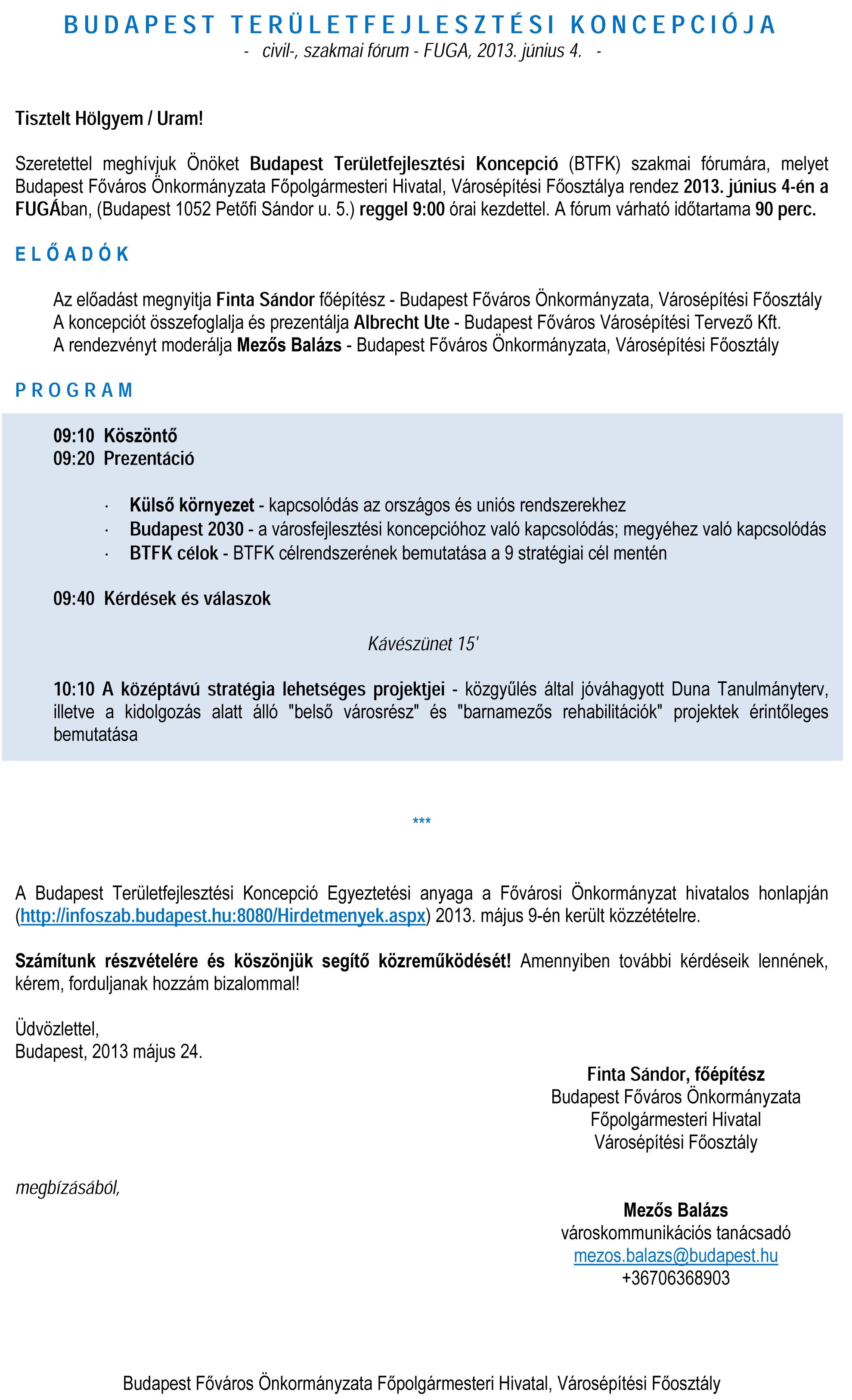 BTFK - civil-, szakmai fórum meghívó