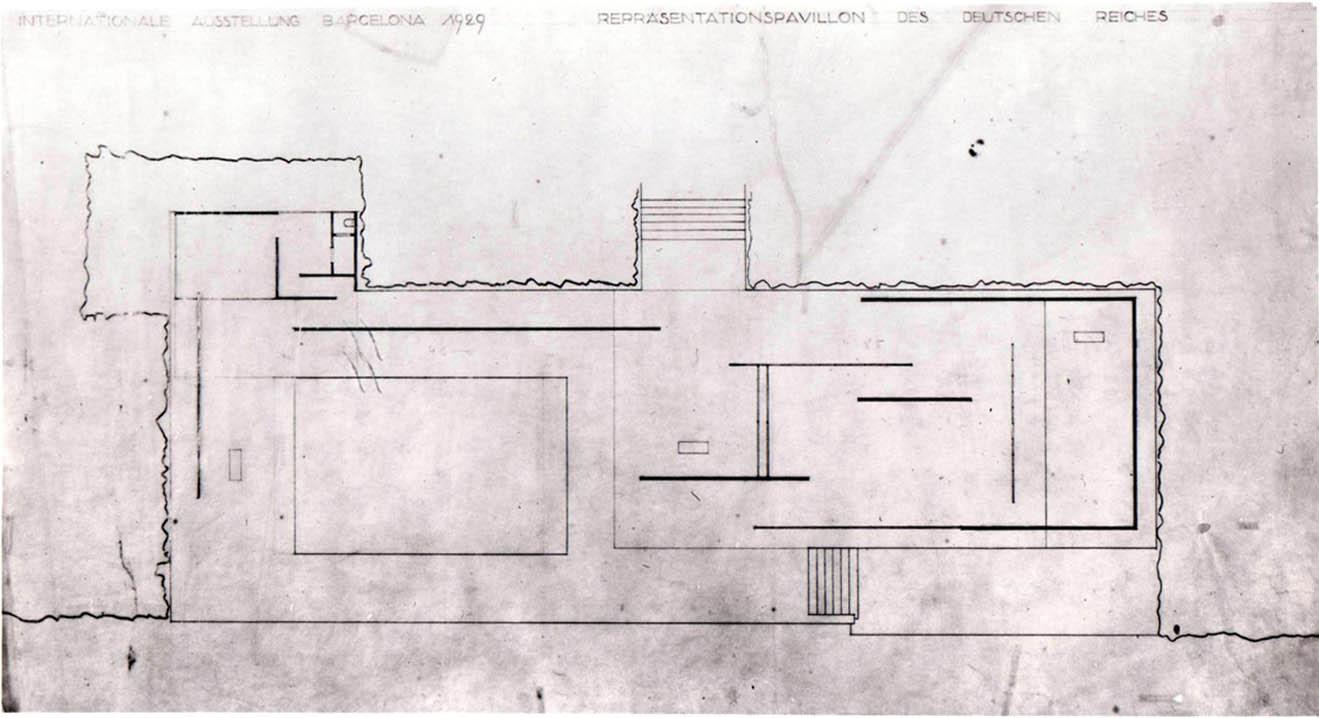 Studio-iniziale-di-Mies-van-der-Rohe-per-una-possibile-planimetria-del-padiglione-con-vasca-e-piedistalli-per-statue